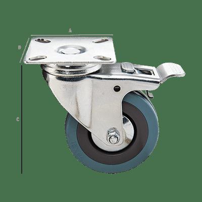 Ρόδα Βιομηχανική Βαρέως Τύπου με Φρένο 75mm 65x65x2,0mm Μπλέ