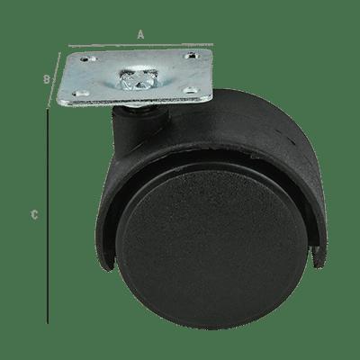 Ρόδα Επίπλου Νάυλον 40mm Χωρίς Φρένο 38x38x1,5mm Μαύρη